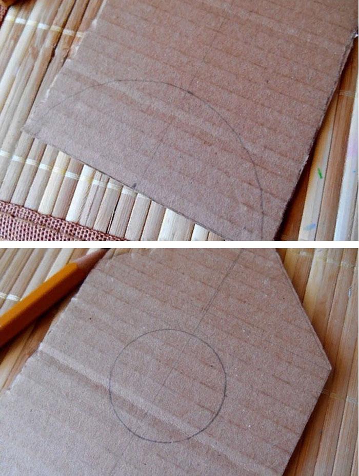 Причём на одной из деталей нужно прорисовать дно и вот такую полукруглую выемку для укладывания чайных пакетиков