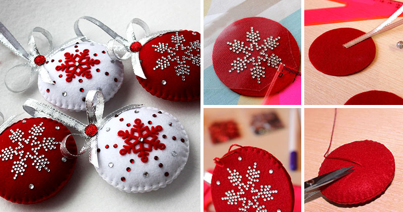 Пошаговое изготовление новогоднего шара из фетра