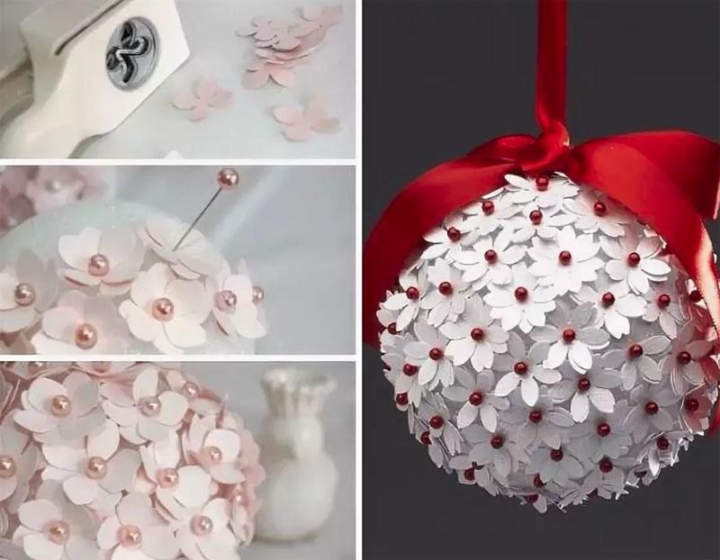 Последовательность декорирования новогоднего шара бумажными цветами
