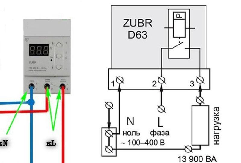 Схема подключения реле контроля напряжения «Зубр»