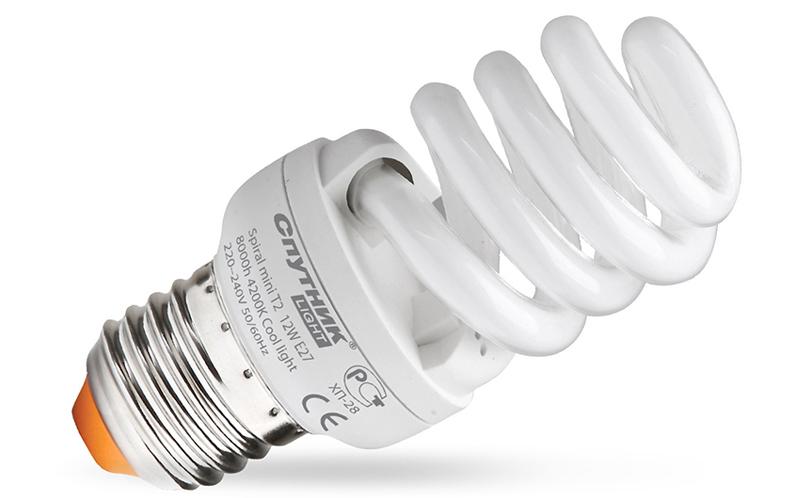 Чаще всего люминесцентная лампа имеет форму спирали