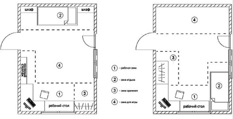 Варианты расположения шкафа и стеллажа