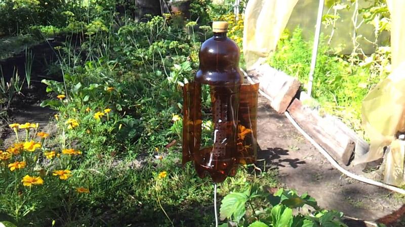 Ветер, «завывающий» в подобной бутылке, выгонит кротов с участка