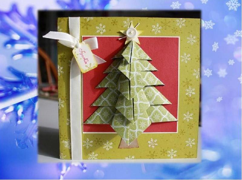 Новогодняя аппликация в технике оригами