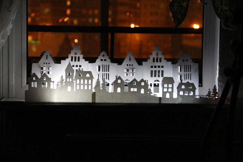 Вытытанка «Зимний город» с подсветкой
