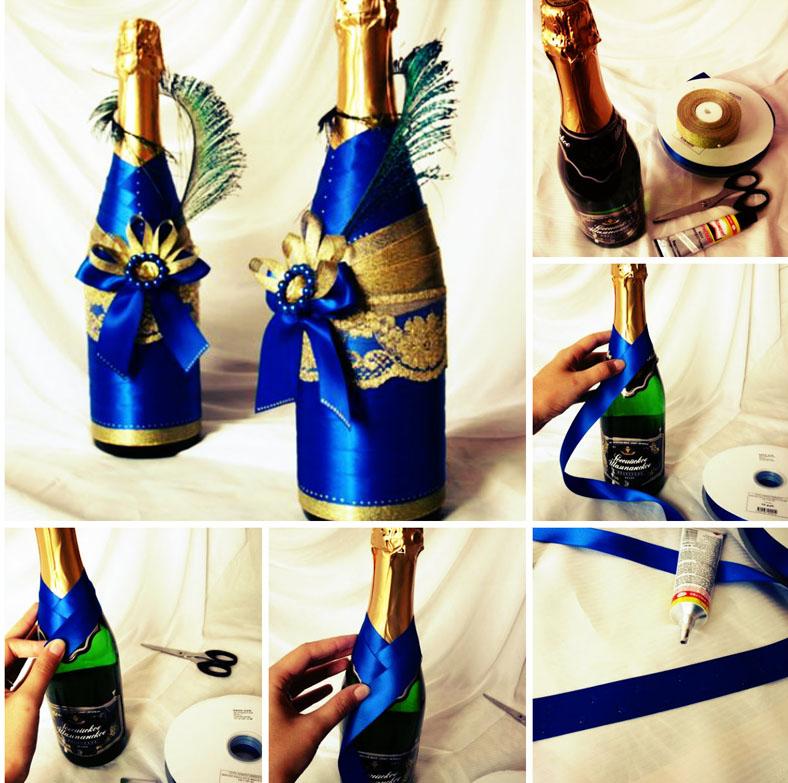 По такой схеме делают ленточные наряды. Бутылки, украшенные лентами, чудо как хороши!