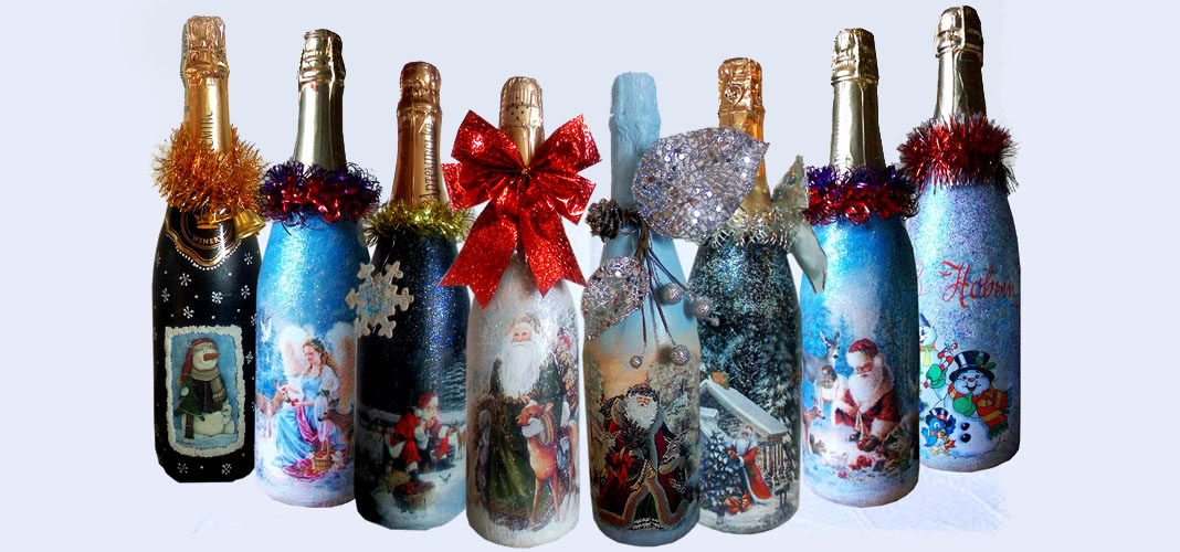Бутылка к Новому Году своими руками