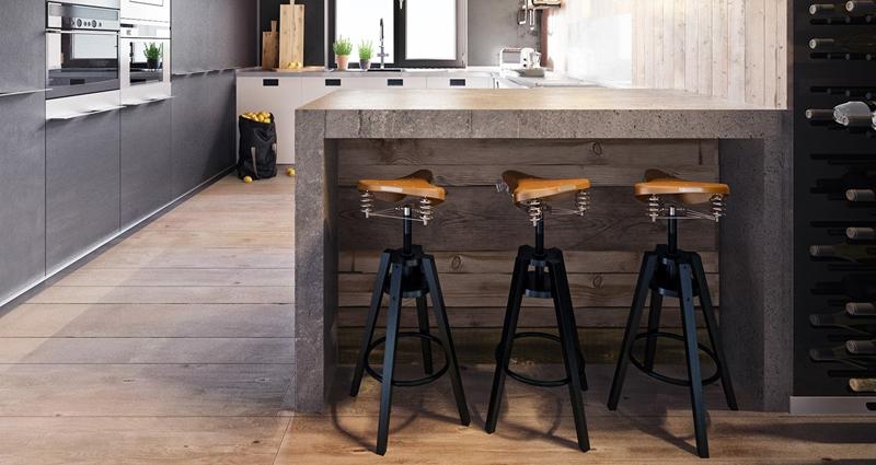 Высокий табурет также считается барным вариантом, так как его высота полностью соответствует нормам для барной стойки