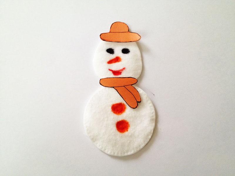 Снеговичка можно оформить в виде открытки на плотном картоне или сделать двусторонним, а если приделать веревочку, он станет необычным украшением интерьера или елки