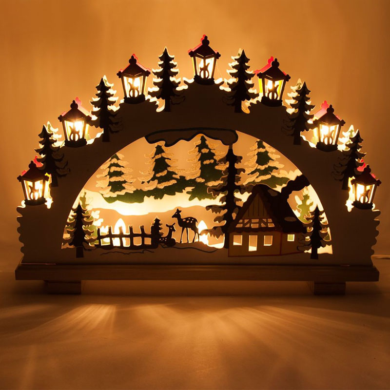 Такие светильники делают из дерева и продают в готовом виде или изготавливают своими руками из картона. При использовании картона и бумаги театр теней создают не пламенем свечей, а светодиодной гирляндой
