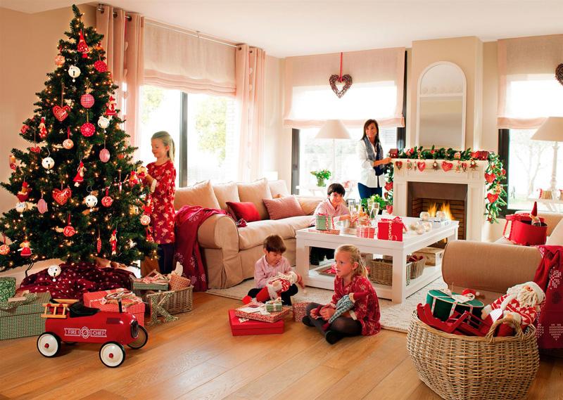 видом картинка где семья готовится к новому году городская машинка
