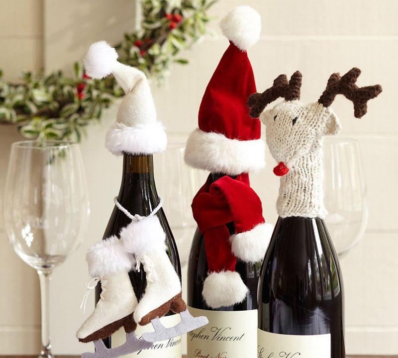 Бутылка шампанского превращается в своеобразный манекен, которому как тому подлецу, всё к лицу
