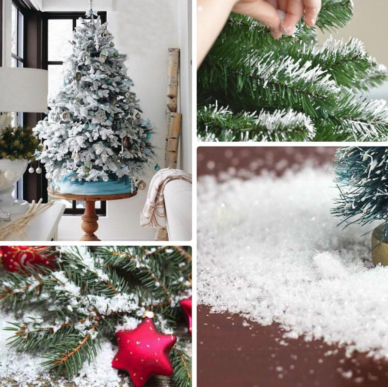 Искусственным снегом посыпают ёлки, декор, столы