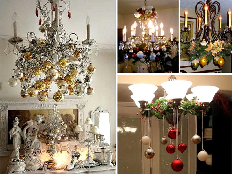Свисающий декор может состоять из бантов, игрушек, шишек и даже серпантина