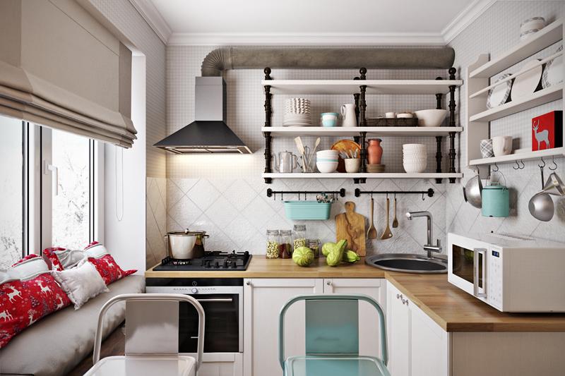 Открытые полочки придают ощущение ещё большей тесноты кухни