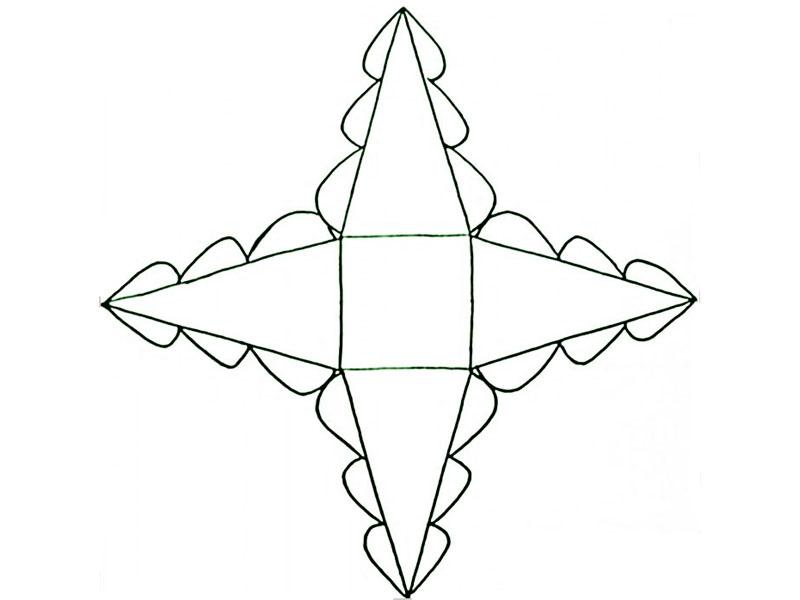 Изготовление ёлки заключается в вырезании шаблона и последующем его наложении на картон или бумагу