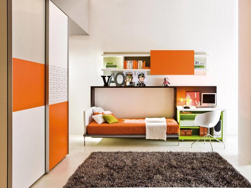 Односпальная кровать-комод может быть дополнена рабочим столом. Такая модель прекрасно подойдёт для студентов или молодых людей