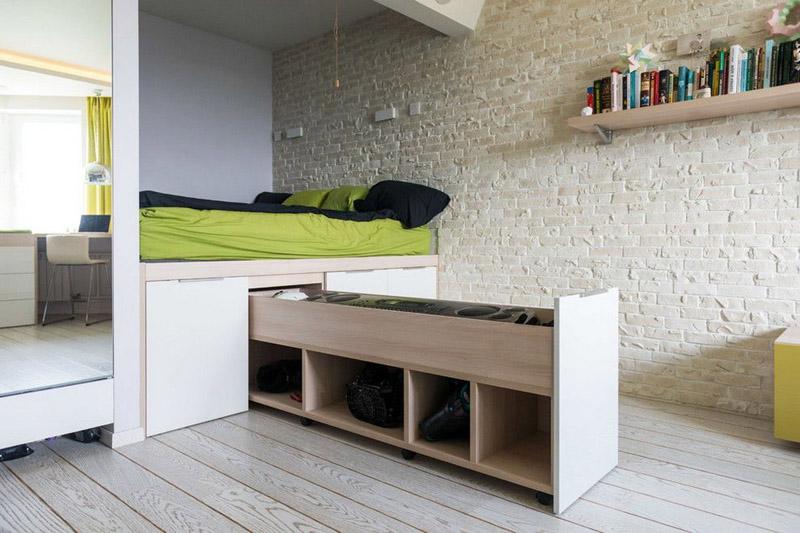 Организация зоны хранения внутри кровати-комода