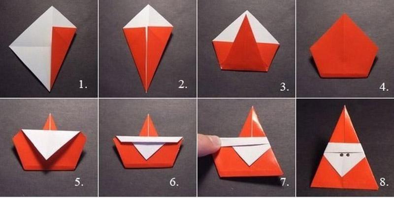 Пошаговый мастер-класс поделки деда Мороза в технике оригами. Останется приклеить верёвочку и нарисовать ручкой глазки