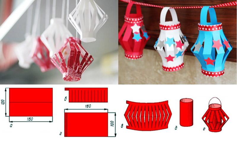 Пошаговое изготовление бумажных фонариков