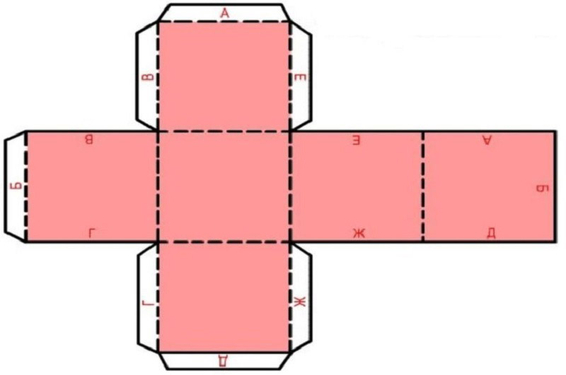 Распечатать шаблон, вырезать по периметру, согнуть по линиям сгиба, зафиксировать клеем. Таких кубиков понадобится 8 штук