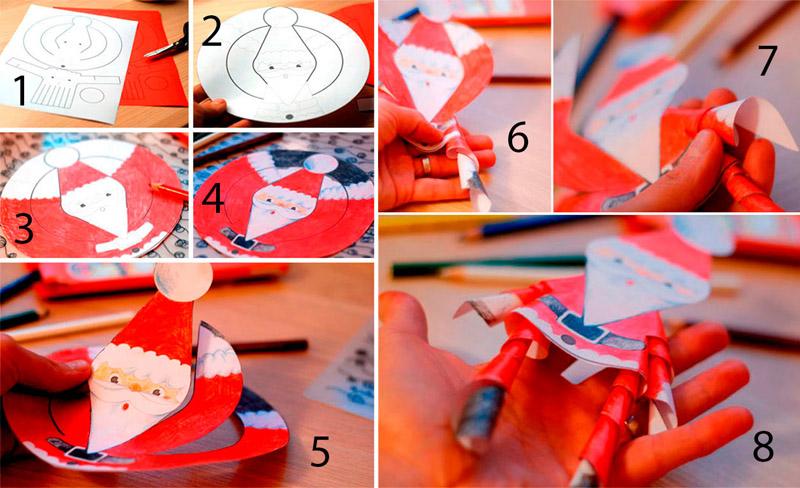 Вырезать и раскрасить деда Мороза фломастерами или мелками, сложить последовательно, как показано на рисунке