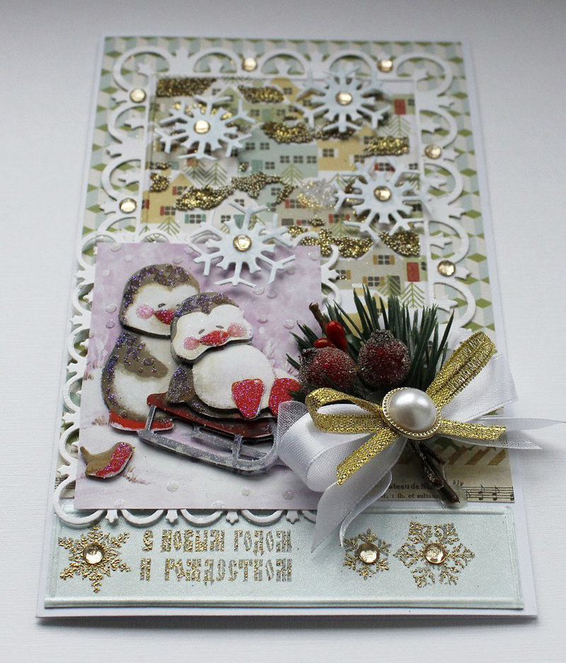 Открытка, скрапбукинг мастер класс открытки новогодние