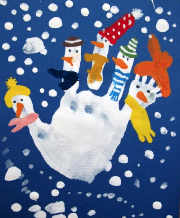 Новогодняя открытка из ладошек, открытки мужу