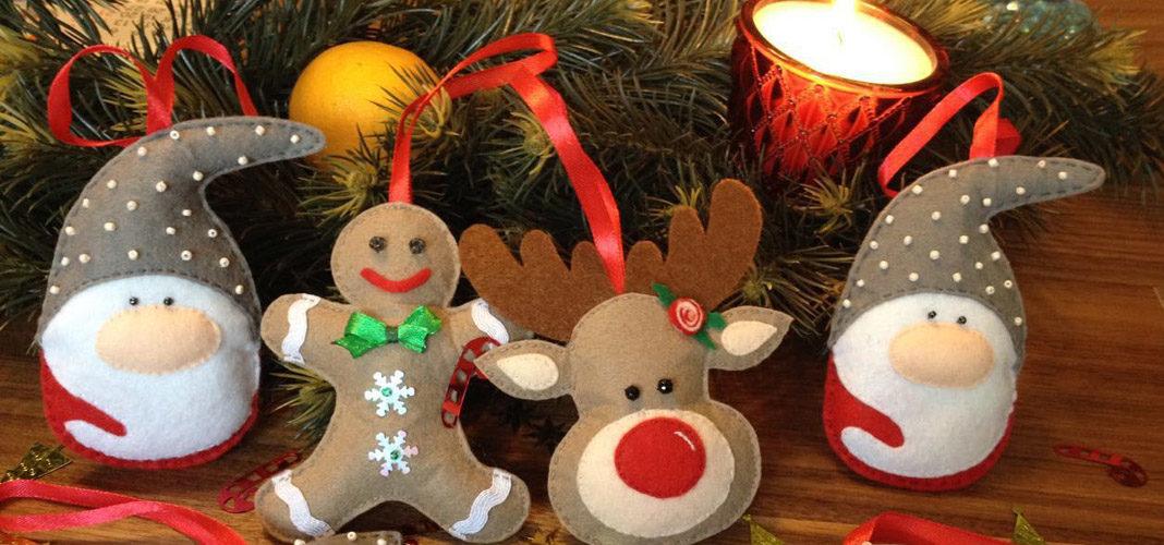 Новогодние выкройки для игрушек из фетра