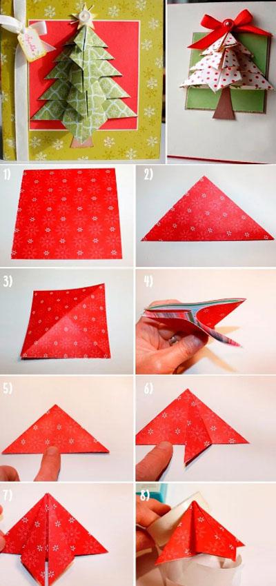 Один из вариантов открытки в технике оригами