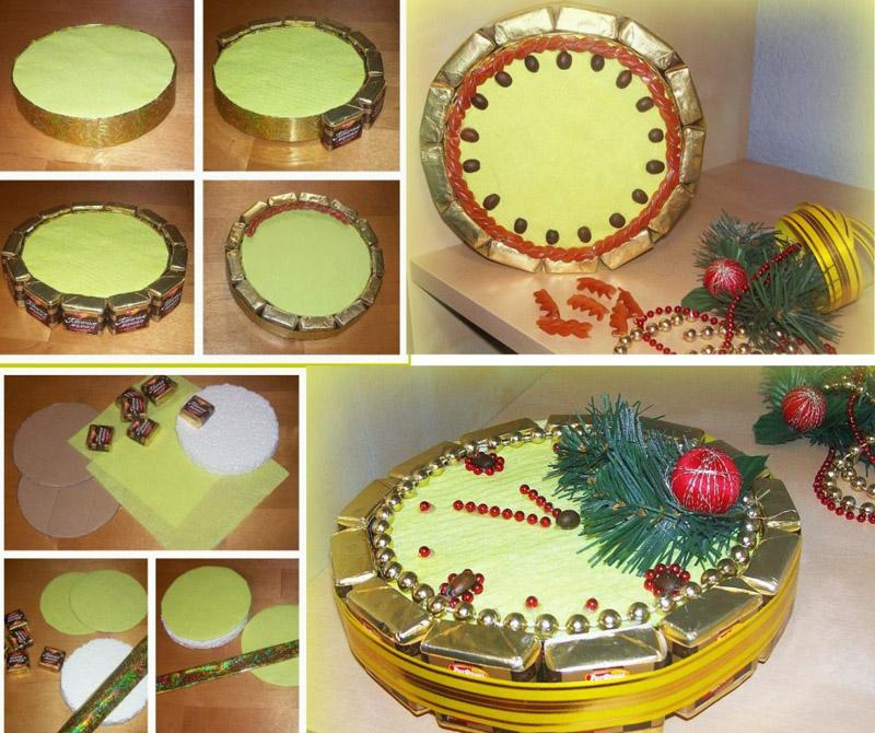 Процесс создания всех часов примерно одинаков, разными могут быть декор и сами конфеты