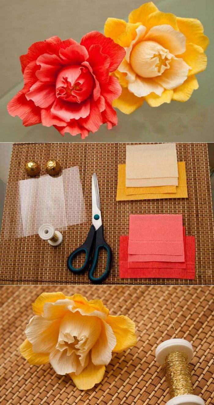 Цветочки можно сделать из конфет вроде FerreroRocher и гофрированной бумаги