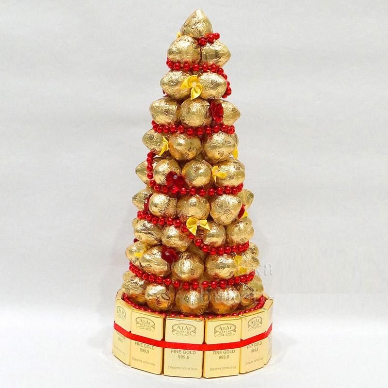 В основании укладывают стройный ряд шоколадок. Бусы будут подходящим украшением для ёлки