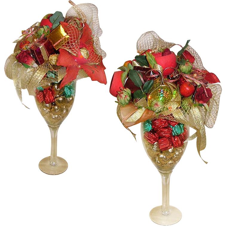 Ещё вариант декорирования бокалов сладостями