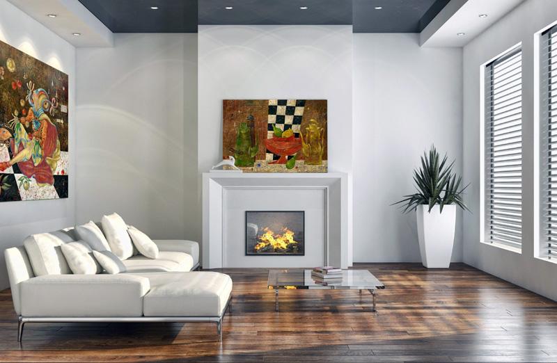 Достаточно часто картины и фото используются как декоративный элемент. В этом случае картина заменяет огонь в камине