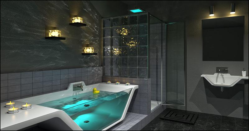 Необычную игру света дает ванная с прозрачной стенкой и стеклоблоки