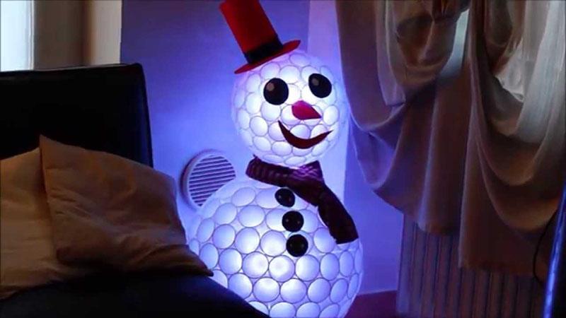 Внутри снеговичка можно закрепить LED-ленту