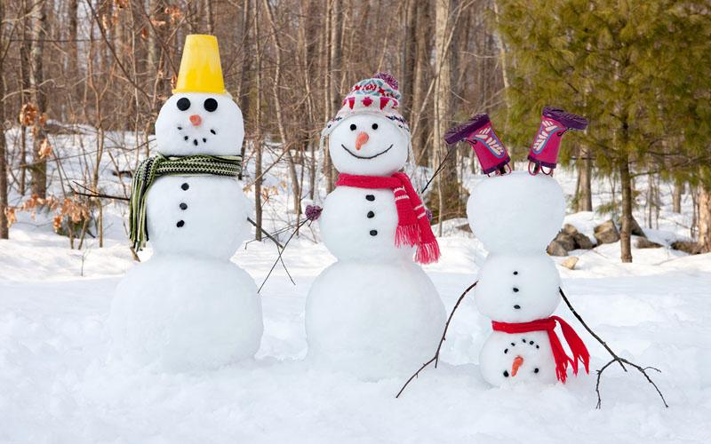 Креативное украшение семейства снеговичков