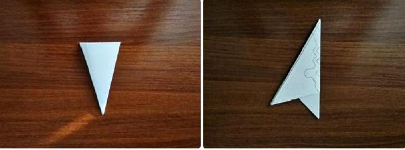 Перевернуть поделку, обрезать нижнюю часть по уровню полосы, перенести узор через шаблон