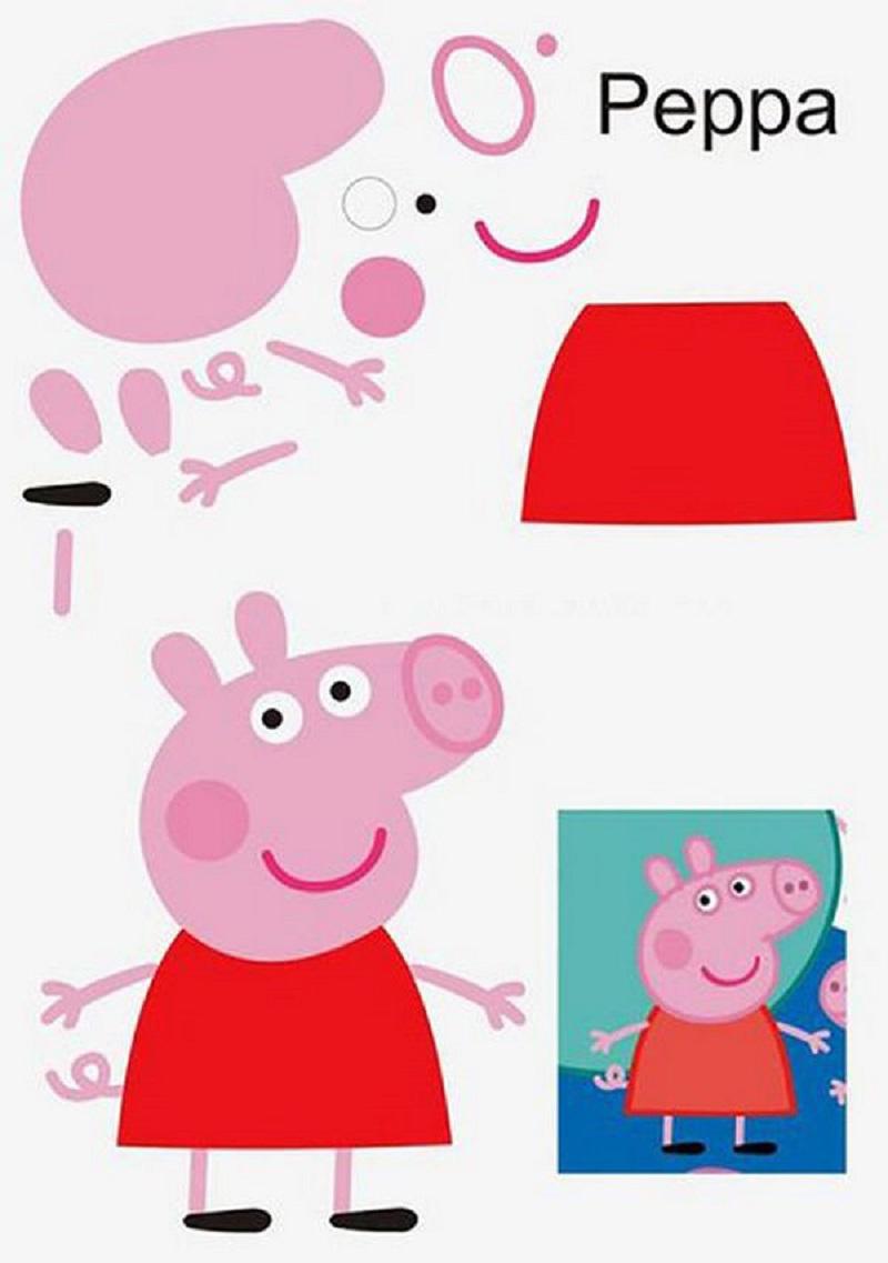 Свинку Пеппу знают все детки. Необходимо ребёнку распечатать шаблон, он вырежет детали и приклеит их на лист цветного картона