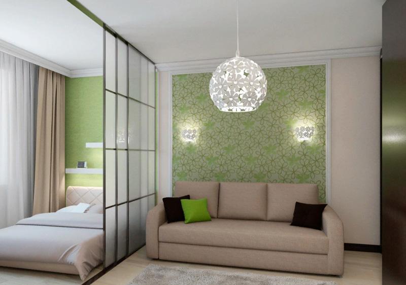 С закрытой дверью создаётся впечатление раздельных комнат, а с открытой – единого пространства