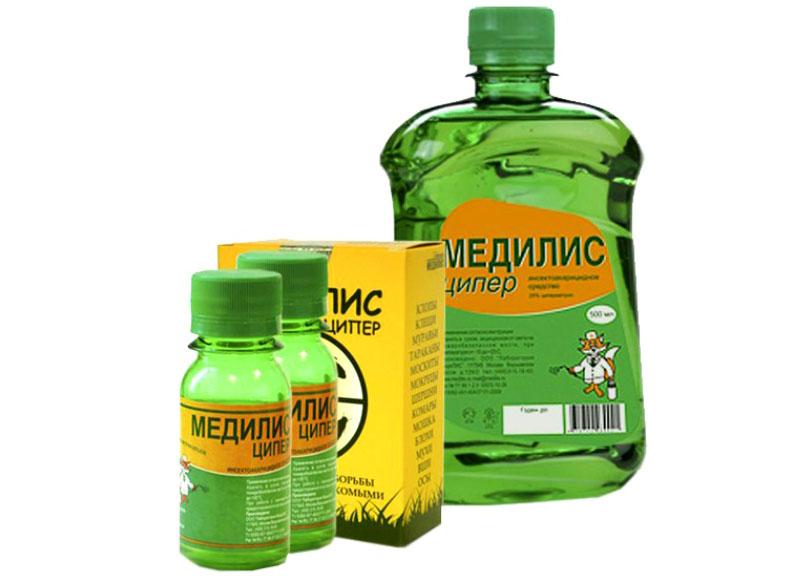 «Медилис» является 25% концентратом эмульсии, чтобы тщательно обработать 1 м², нужно 50 мл средства
