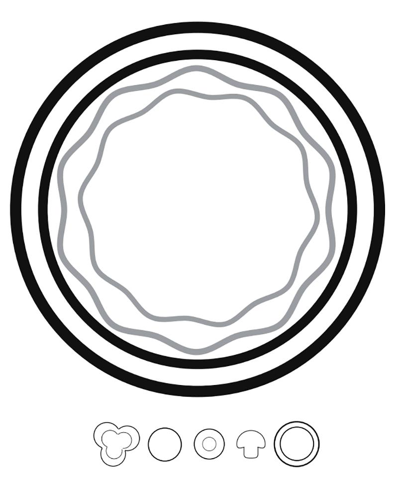 Схема пиццы, соуса и компонентов