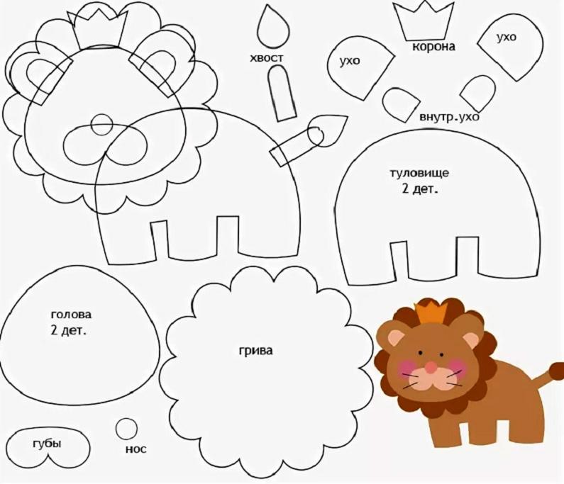 В этой схеме сначала нужно сшить мелкие детали: внутреннее ухо пришить к уху, затем на заготовку головы пришить губы, носик и гриву, сшить хвостик и корону, и уже после этого приступать к голове, туловищу и соединению их в одно целое