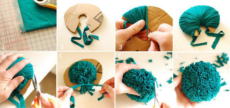 Пошаговое изготовление помпона из ткани