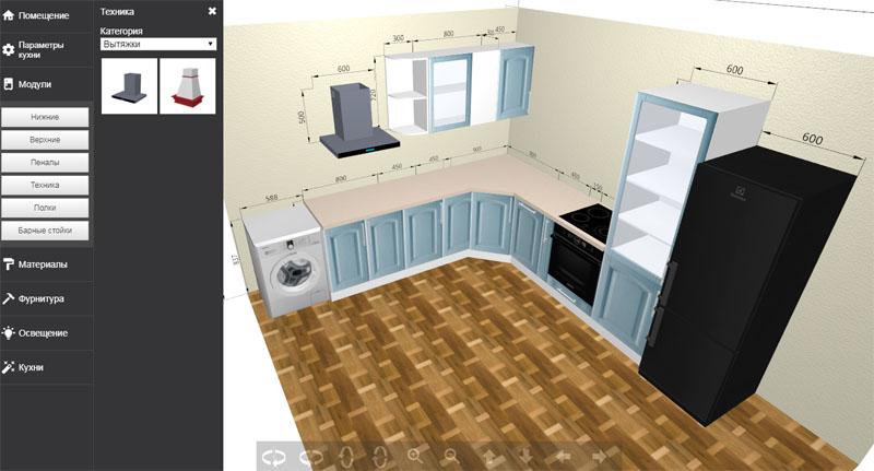 Один из самых простых конструкторов кухни онлайн формата