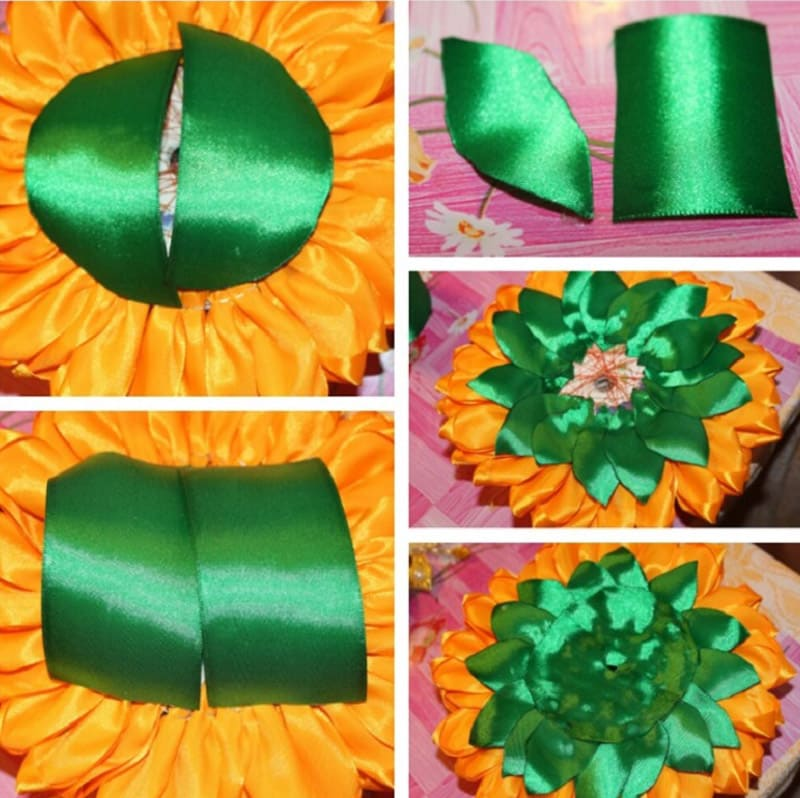 Пошаговое декорирование подсолнуха листочками