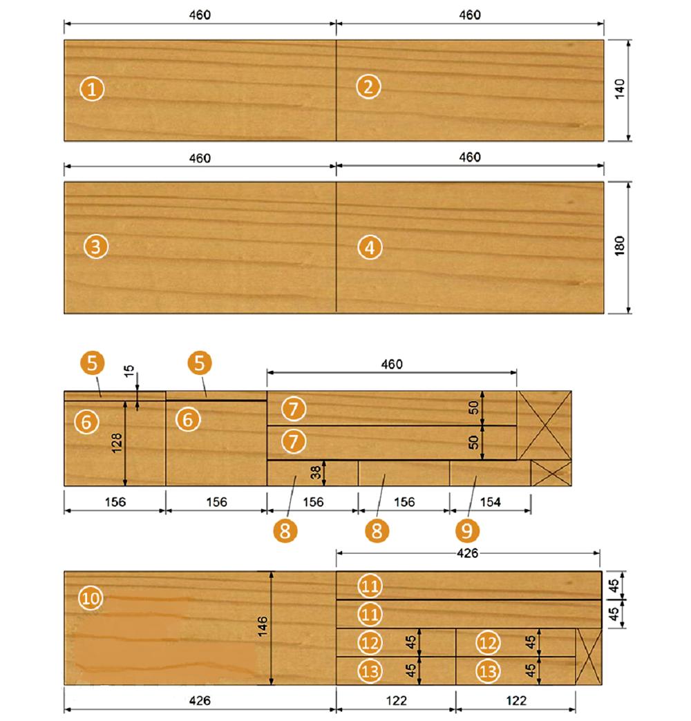 Размеры деталей деревянного инструментального ящика с крышкой