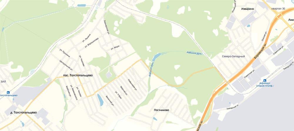 Посёлок Толстопальцево находится недалеко от аэропорта Внуково