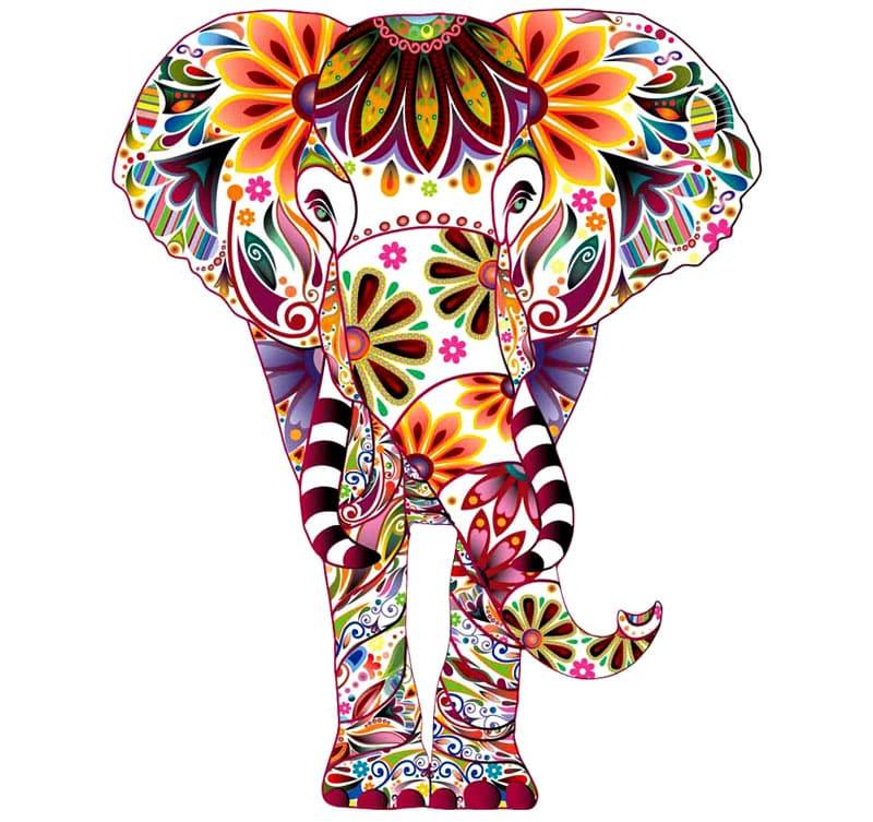Слон в ярком исполнении может украсить стену вашей комнаты